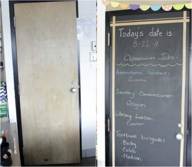 Our principal let us use chalk paint on our classroom doors this year. This is great and serves as kind of a management spot in the room. & My Classroom Makeover - Decor Fix