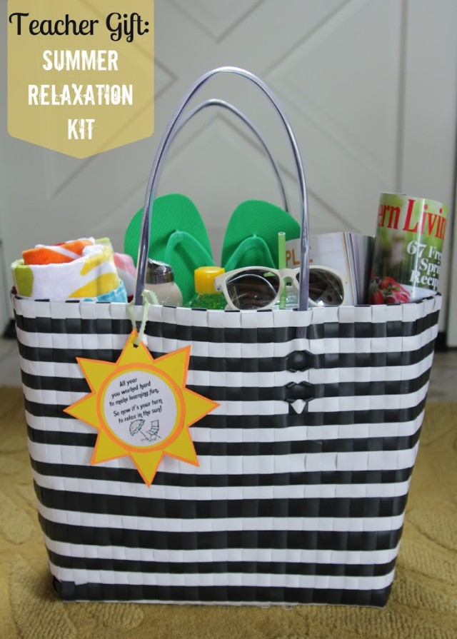 Teacher gift summer relaxation kit decor fix teacher gift summer relaxation tote via the lovely cupboard negle Image collections