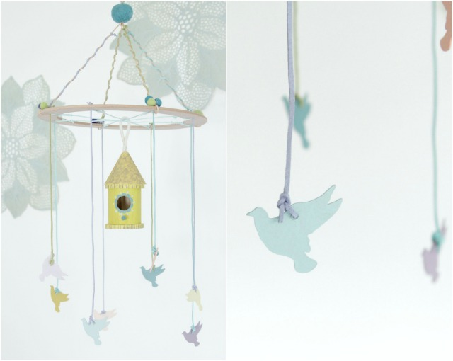Diy bird mobile for the nursery decor fix for Bird mobiles for nursery