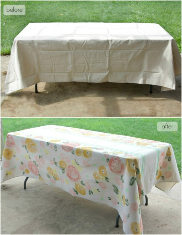 DIY: Painted Floral Table Cloth
