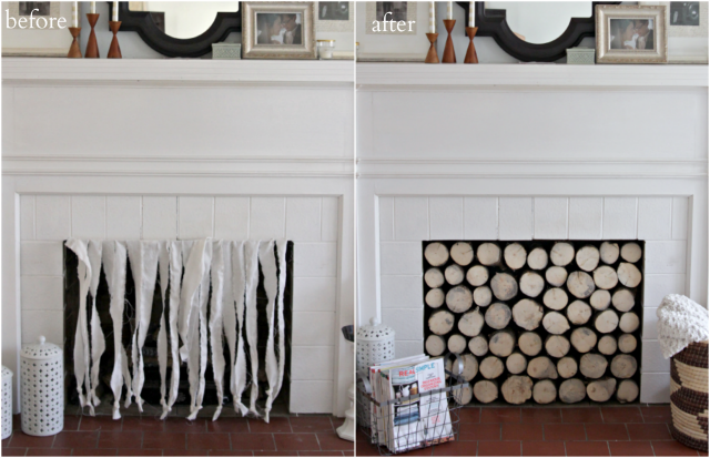 A DIY faux log stack easily hides an unsightly gas fireplace adding a rustic and modern charm.
