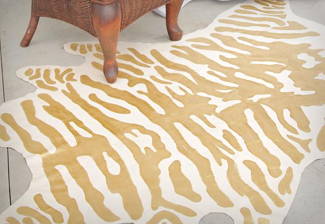 DIY faux zebra rug 2