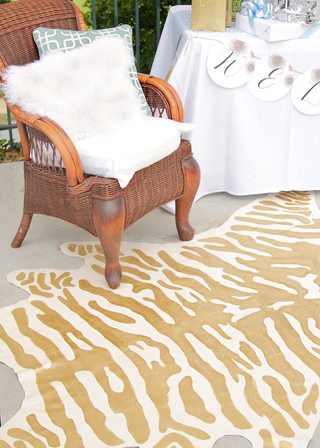 DIY faux zebra rug 3