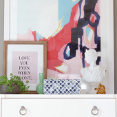Oversized abstract art on dresser