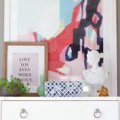 Oversized abstract art on dresser