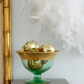 Emerald and gold Christmas mantel 01