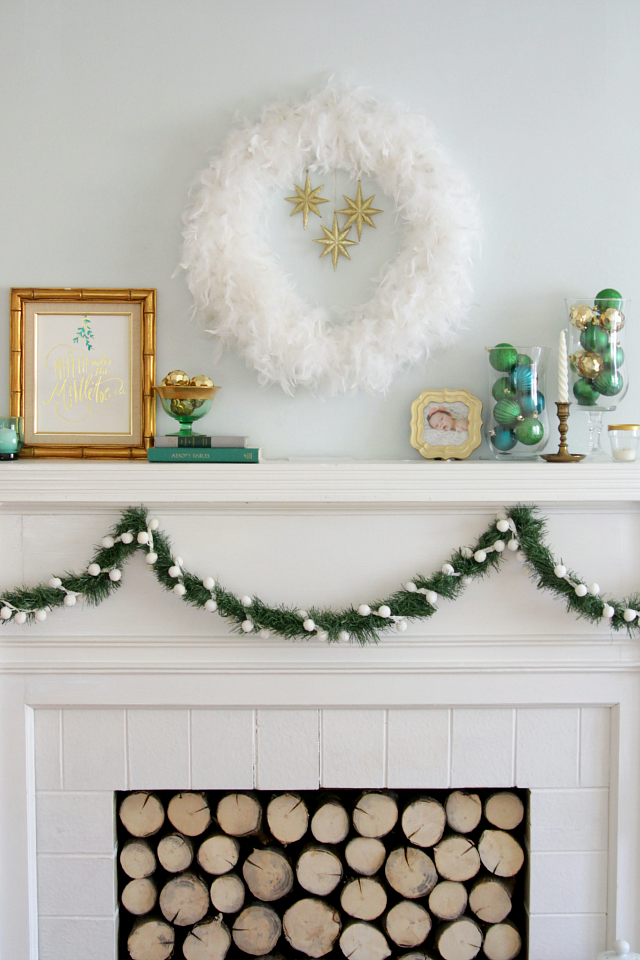 Emerald and gold Christmas mantel 03