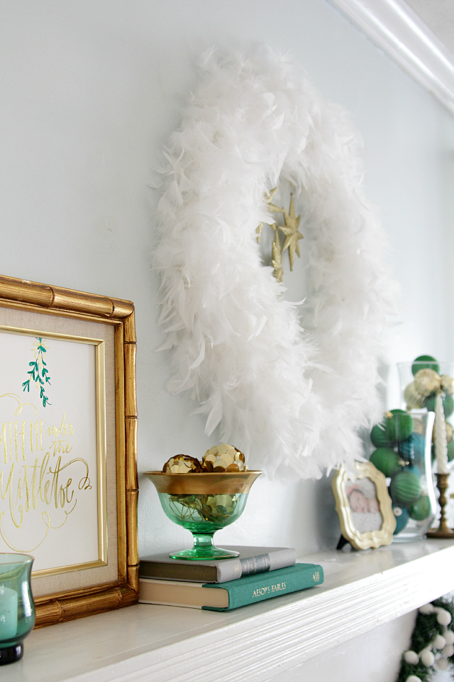 Emerald and gold Christmas mantel 04