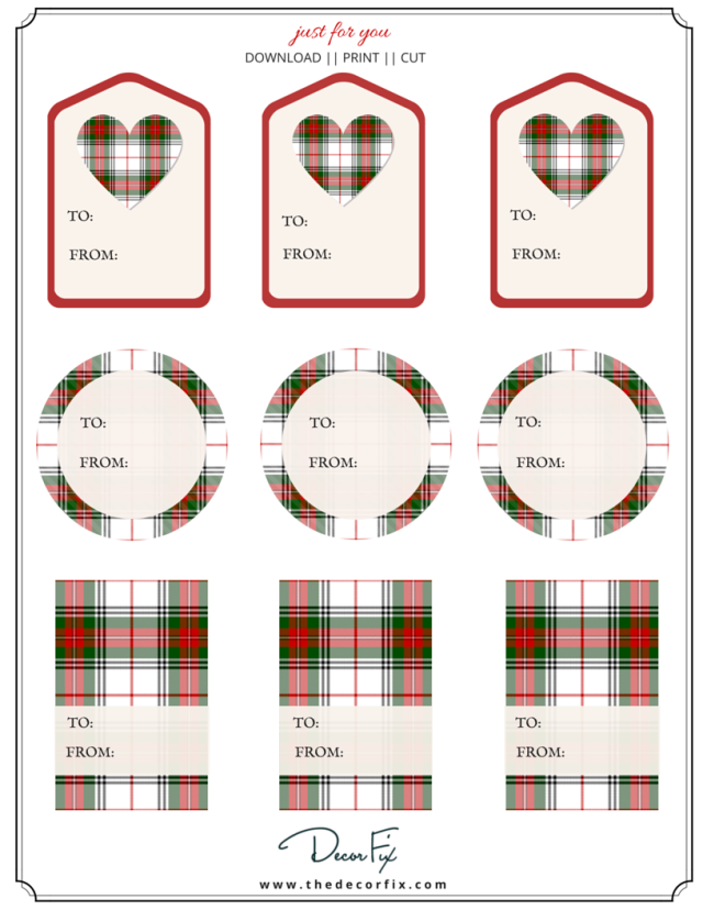 Plaid Gift Tag Printable
