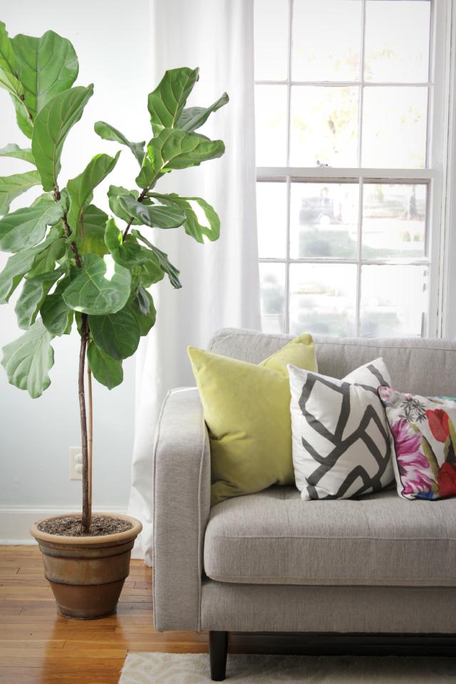Mixing throw pillows on a gray sofa| Decor Fix
