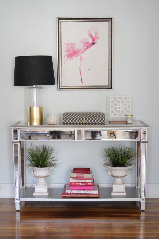 Flamingo art over console table | Decor Fix