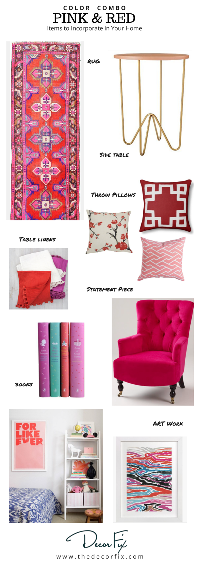 Pink and red home decor items