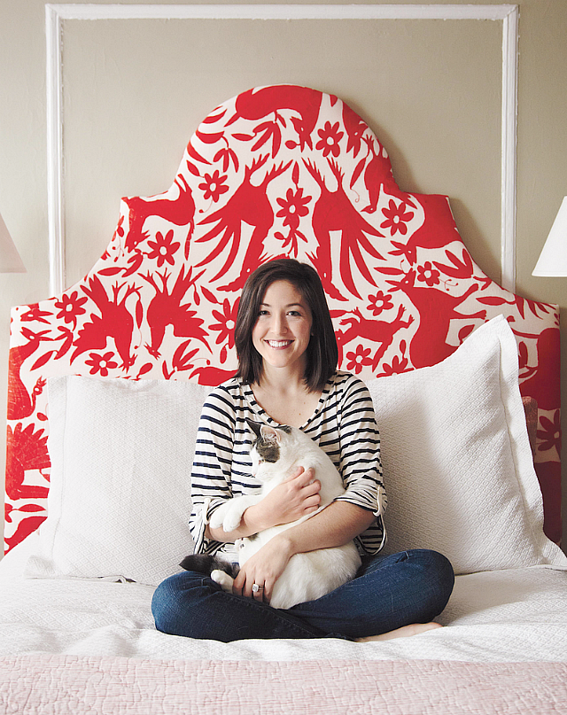 Grace Bonny's red and white headboard