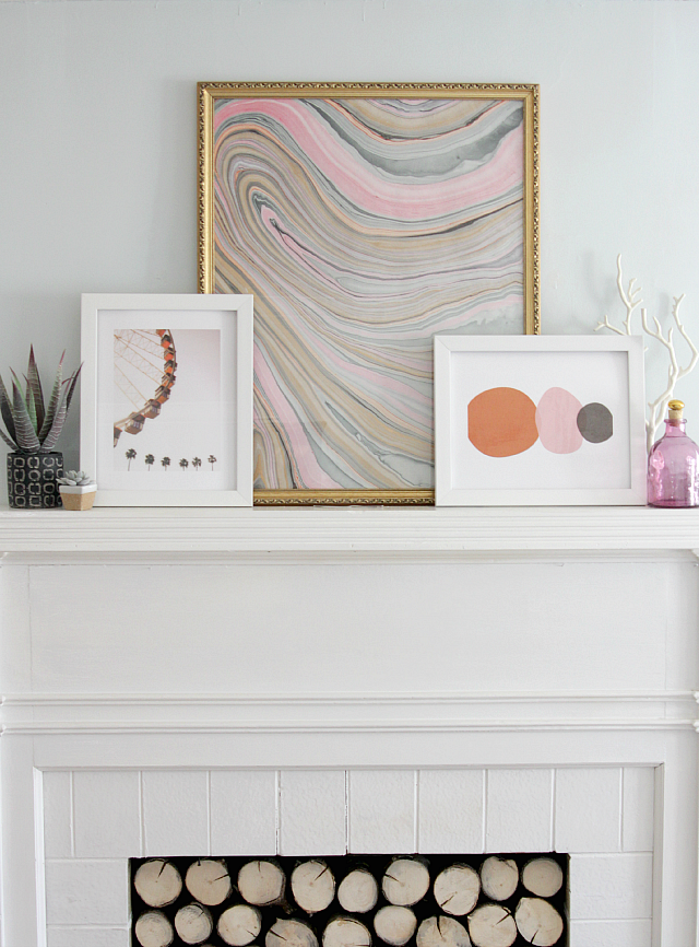 Mantel with layered artwork | Decor Fix
