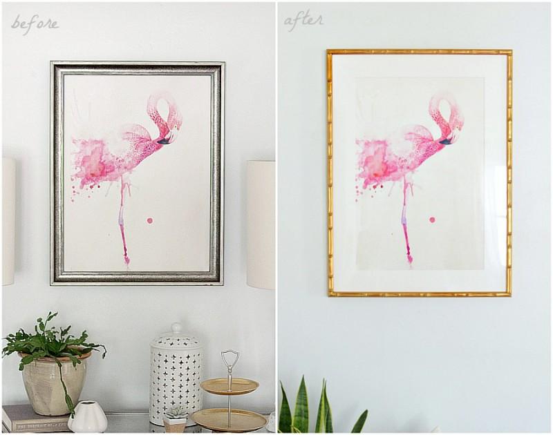 Flamingo print in Framebridge frame | The Decor Fix